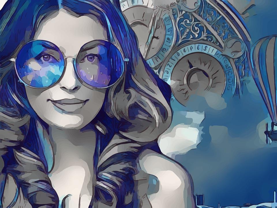 Steampunk, Blue, Goggles, Woman, Female, Clockwork