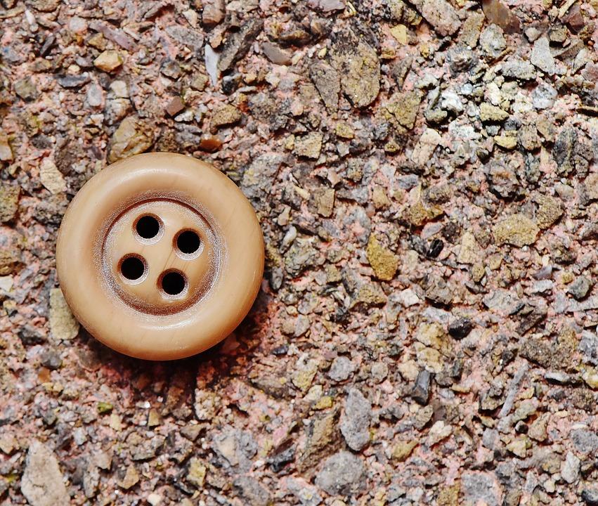Button, 4 Holes, Beige, Close, Color