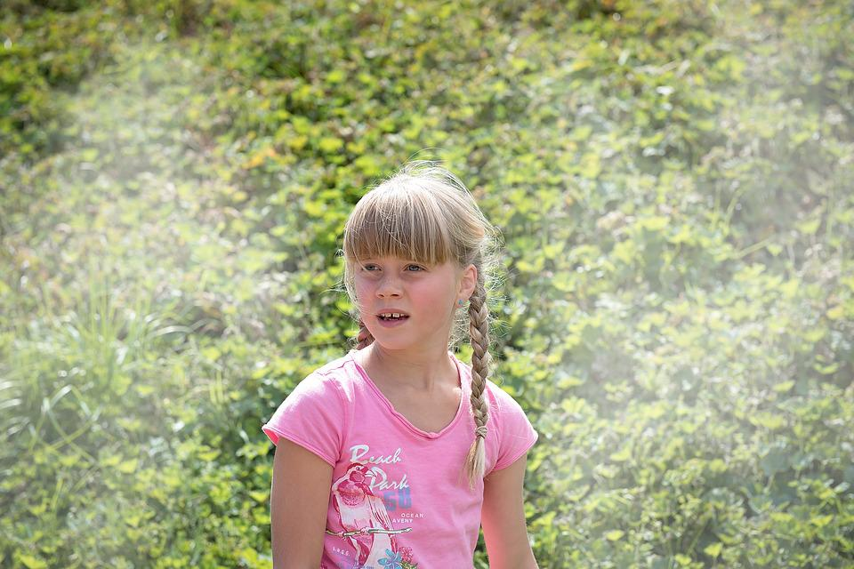 Child, Girl, Blond, Out, Nature, Green, Close Up, Human