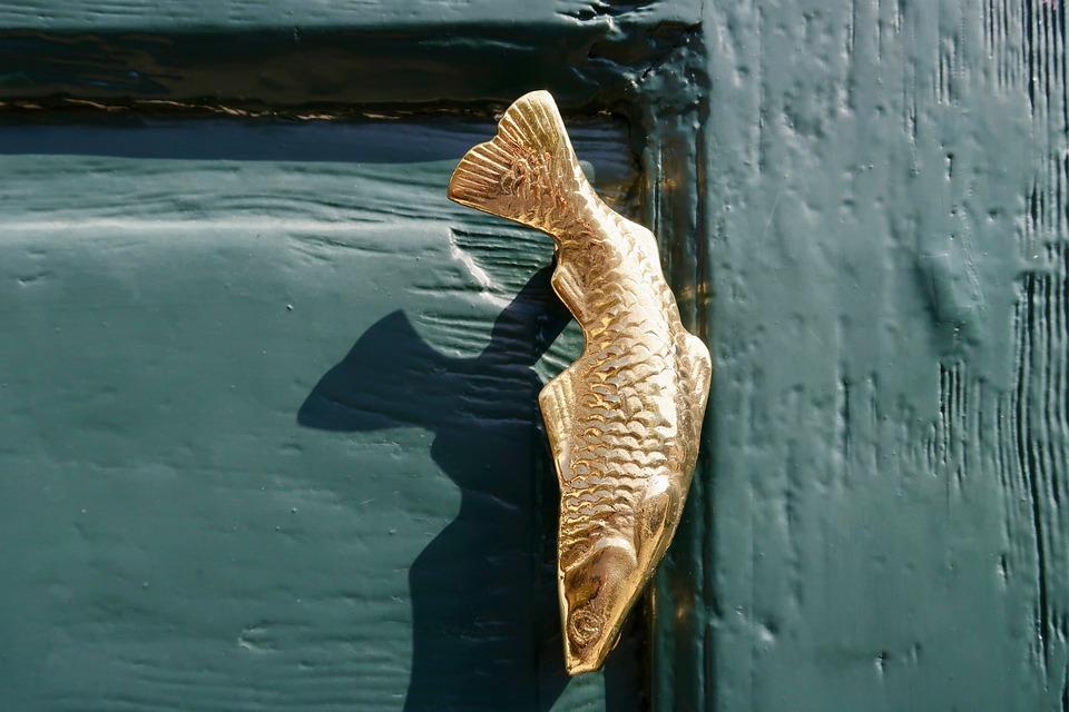 Door Handle, Ornament, Fish, Close Up, Decorative