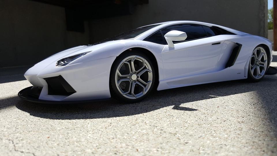 Ferrari Toy Car, White Car, Close Up, Angle Shot, Auto
