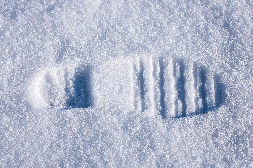 Shoe Print, Snow, Reprint, Winter, White, Close Up