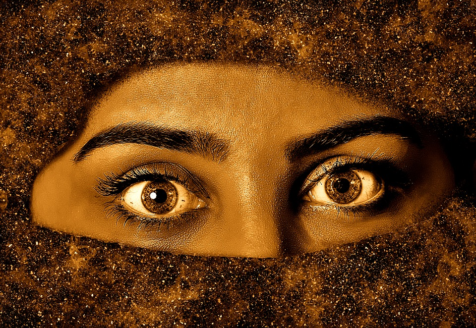 Woman, Eyes, Veil, Face, Eyelashes, Art, Close, View