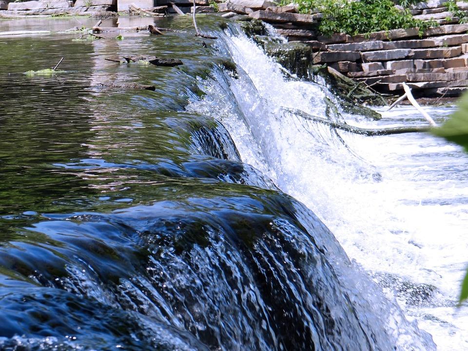 Fall, Waterfall, Gushing, Flowing, Dam, Close-up, Water