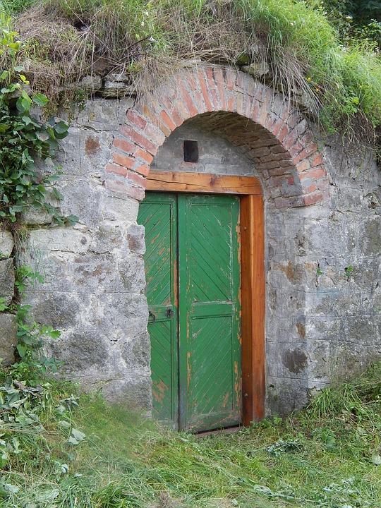 Door, Cellar, Closed, Wood Door, Entrance