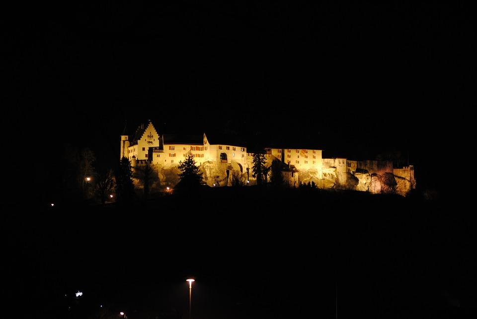 Closed Lenzburg, Castle, Habsburg, Night, Illuminated