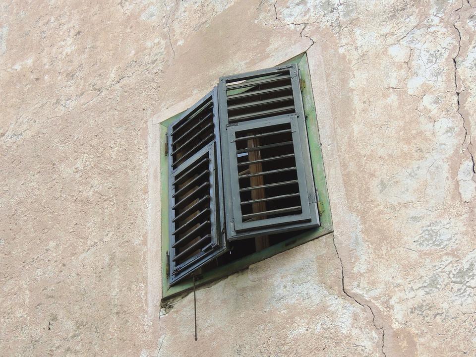 Window, Wall, Mauner, Old, Cracks, Closed