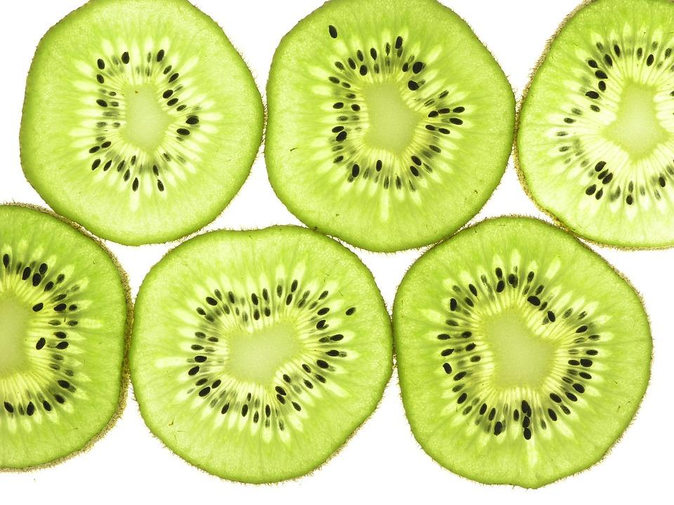 Kiwi Fruit, Slices, Thin, Back Lit, Closeup, Food, Kiwi