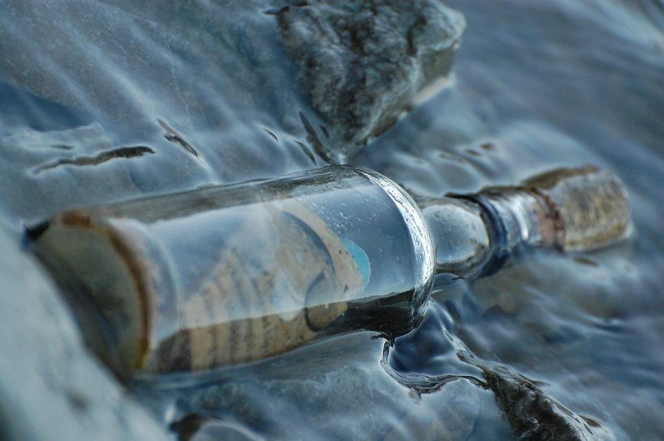 Water, Bottle, Message In A Bottle, Glass, Sea, Closeup