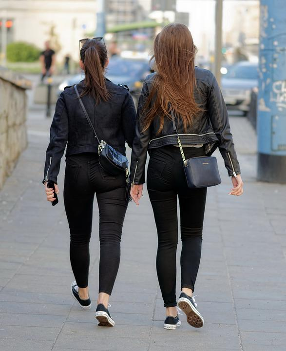 Women, Young, Girls, Going, The Sidewalk, Clothes