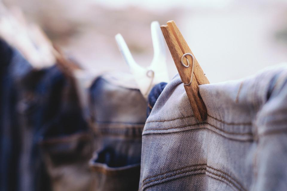 Blur, Clothes, Clothespins, Color, Denim, Hanged, Jeans