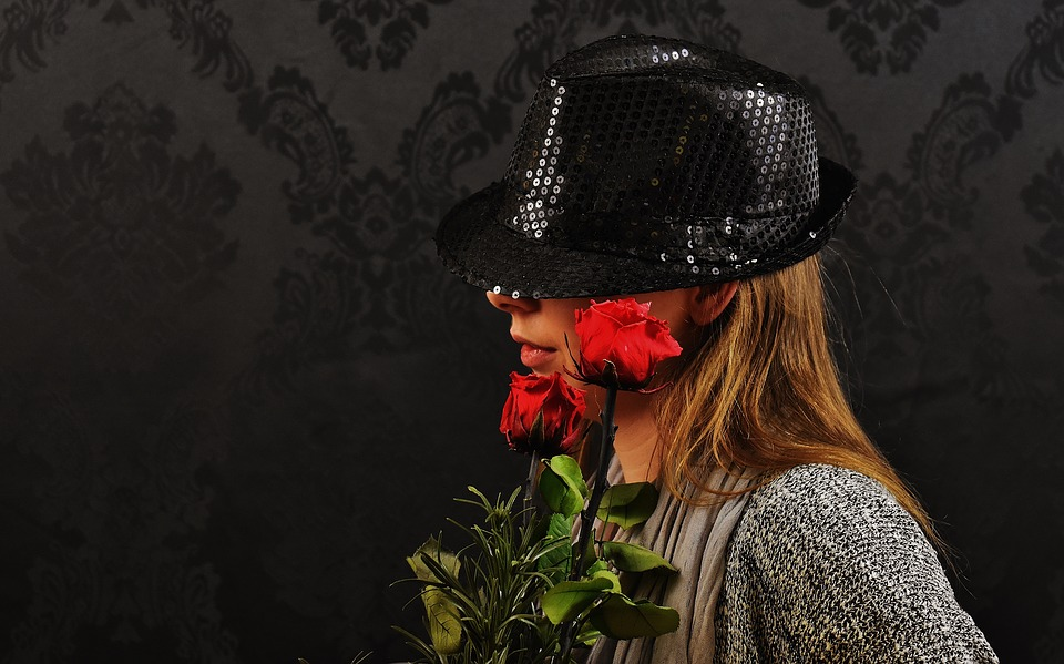 Woman, Hat, Roses, Mysterious, Fashion, Clothing