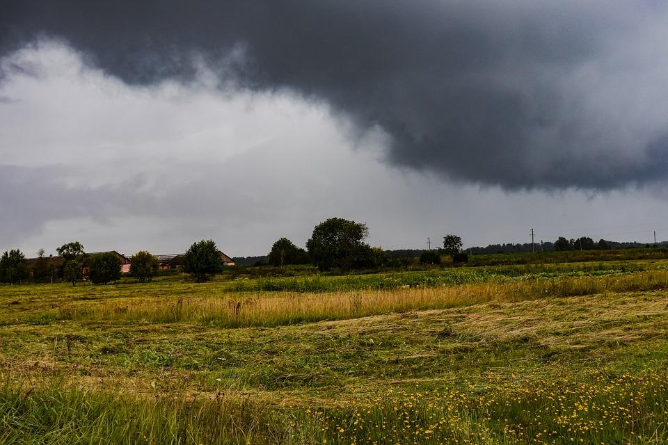 Field, Clouds, Cloud, Cloudy, Rain, Village, Dacha