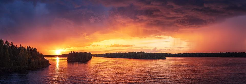 Backlit, Cloud Formation, Dusk, Evening, Forest, Lake