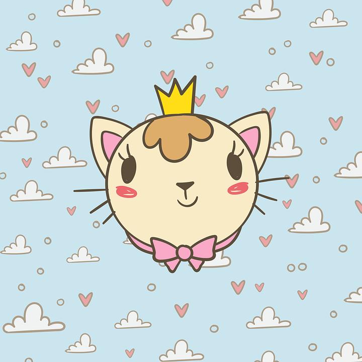 Cat, Cloud, Heart, Texture, Kitten, Cute, Crown, Bow