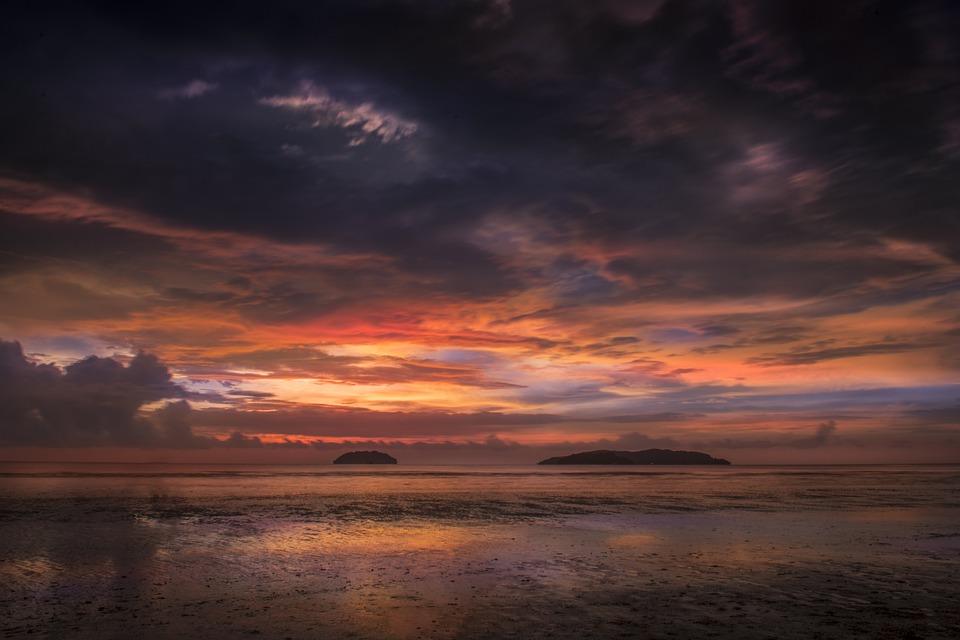 Sunset, Beach, Sea, Sky, Twilight, Cloud, Landscape