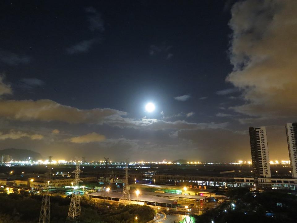 Moon, Cloud, The Night Sky, City