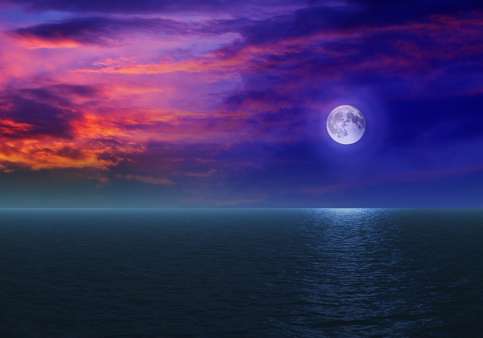 Moon, Sky, Sea, Large, Water, Nature, Night, Cloud