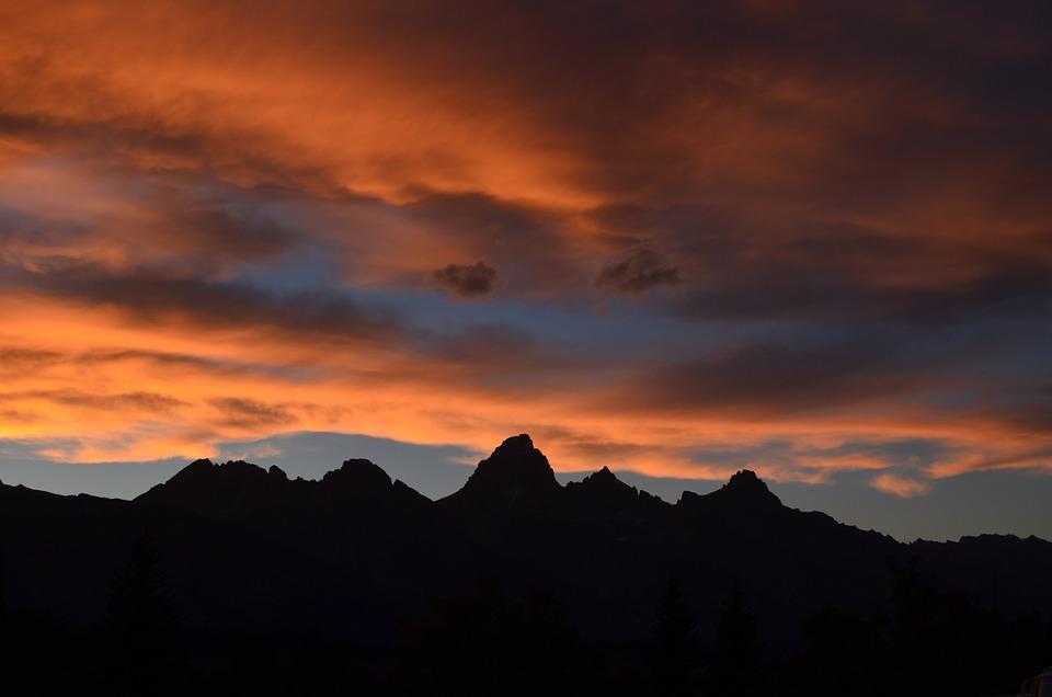 Mountain, Orange, Red, Cloud, Sunlight, Sunset