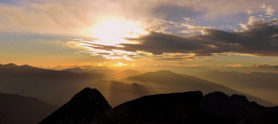 Sunset, Mountain, Carega, Sky, Cloud, Italy, Twilight