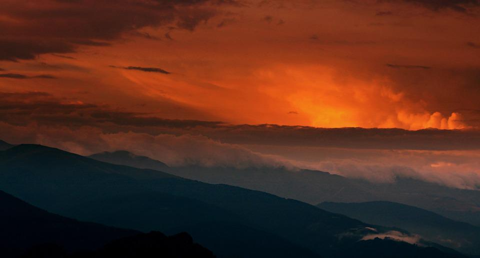 Sunset, Mountain, Top, Cloud, Red