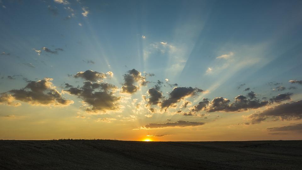 Sun, Horizon, Sunset, Landscape, Cloud, Clouds