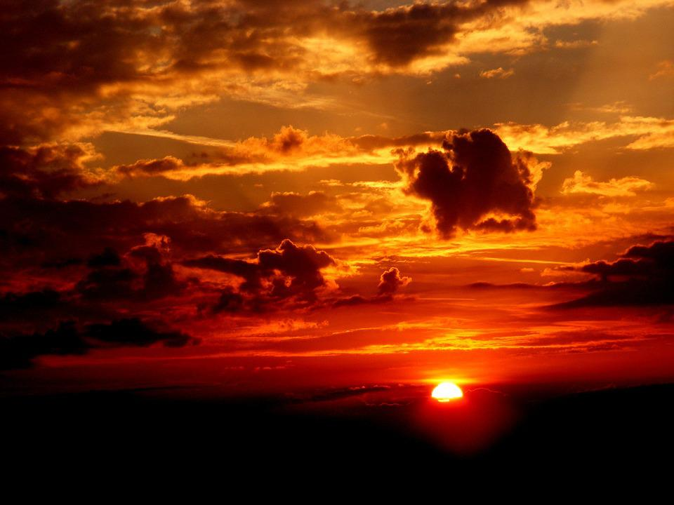 Sunset, Sky, Sun, Cloud, Twilight, Red