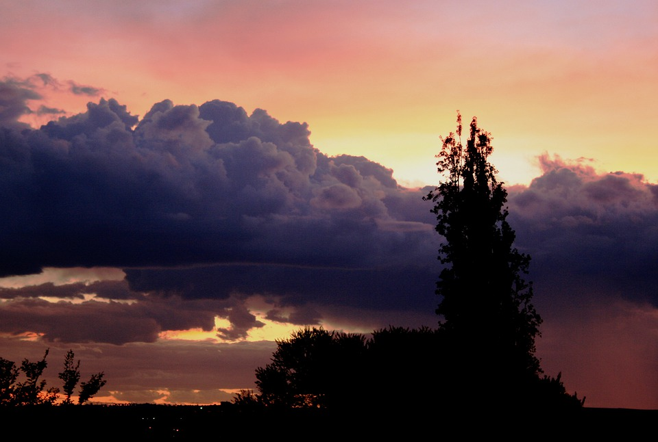 Sunset, Sundown, Clouds, Cloudbank, Purple, White Edges