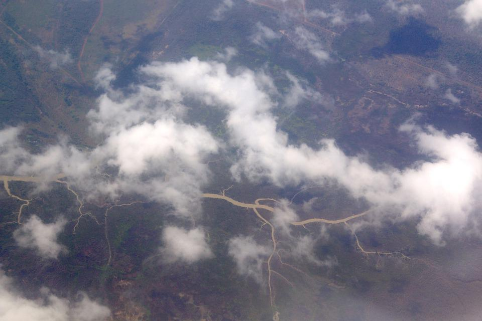 River Across Green Country, River, Clouds, Aerial River