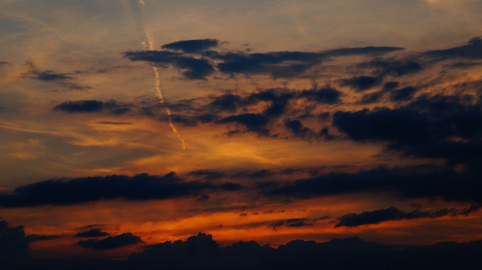Evening Sky, Clouds, Contrail, Sunset, Afterglow