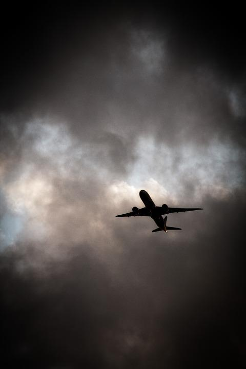 Aircraft, Clouds, Travel, Vacations, Weather, Dark