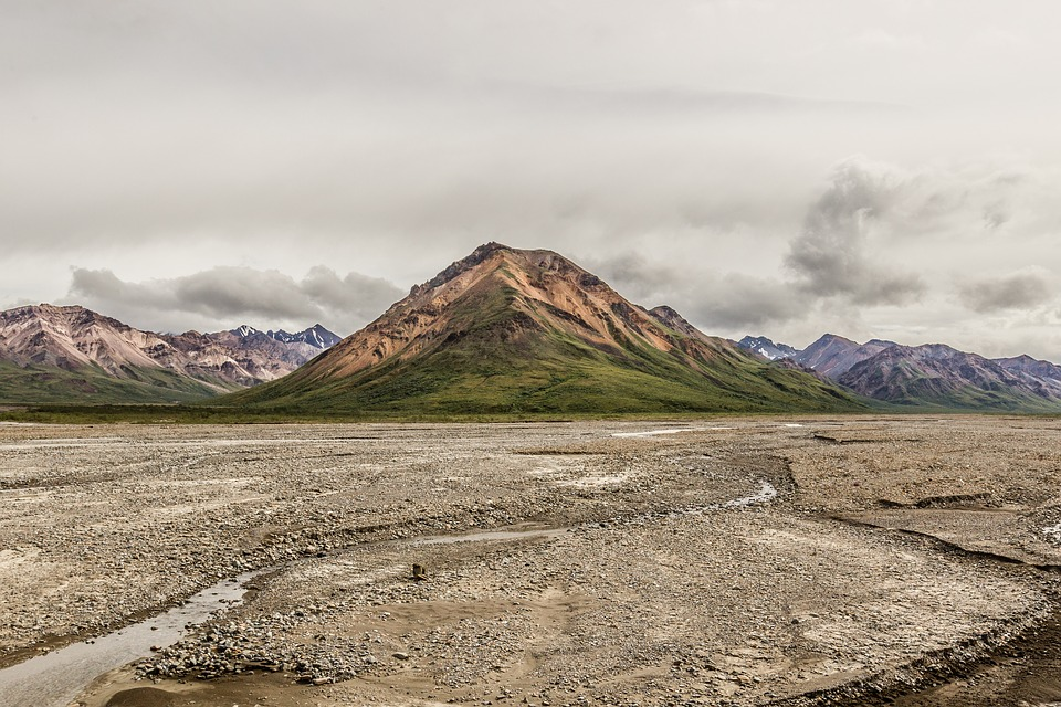 Usa, Alaska, Mountain, Clouds, Stream Bed, Landscape