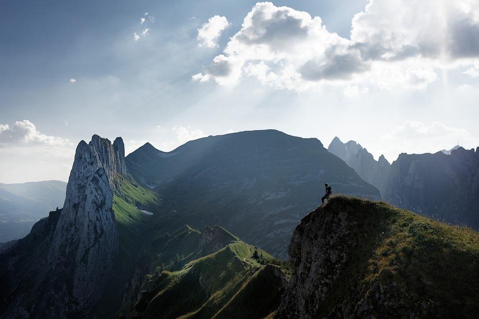 Alpine, Mountain, Hike, Man, Switzerland, Sky, Clouds