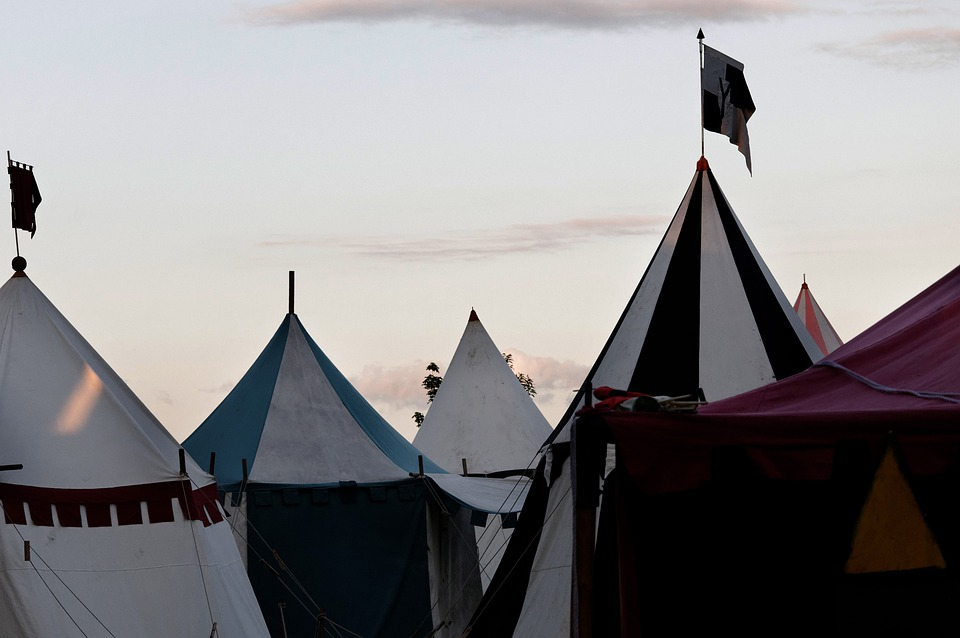 Medieval Market, Army Camp, Tent Tips, Sky, Clouds