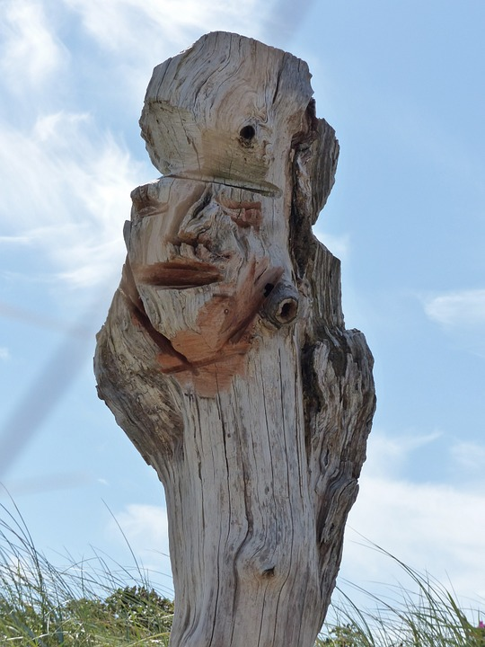 Wood, Art, Sylt, Sky, Clouds, Face, Carving