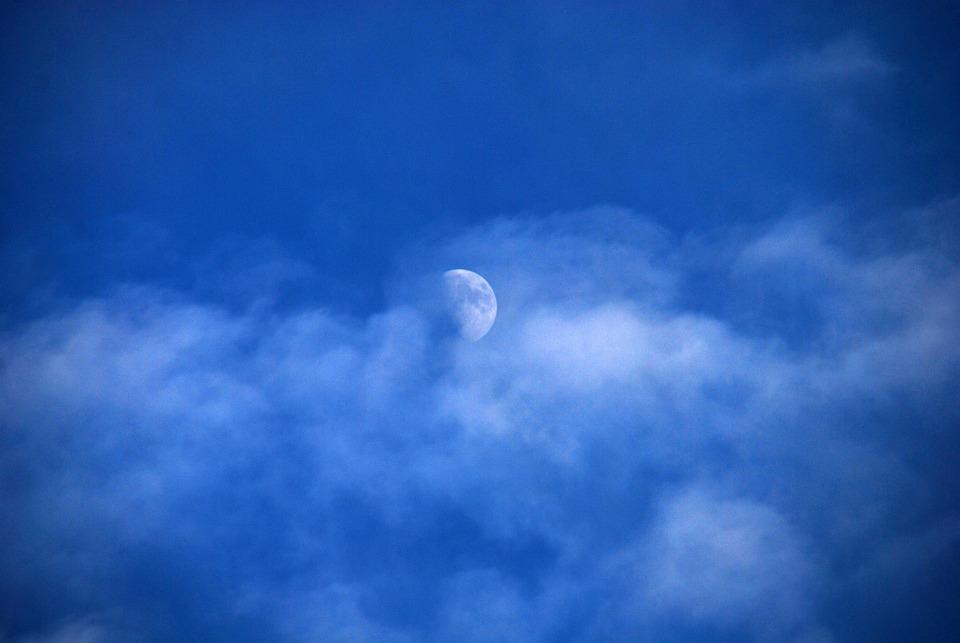 Moon, Sky, Blue, Clouds, Nature, Atmosphere, Horizon