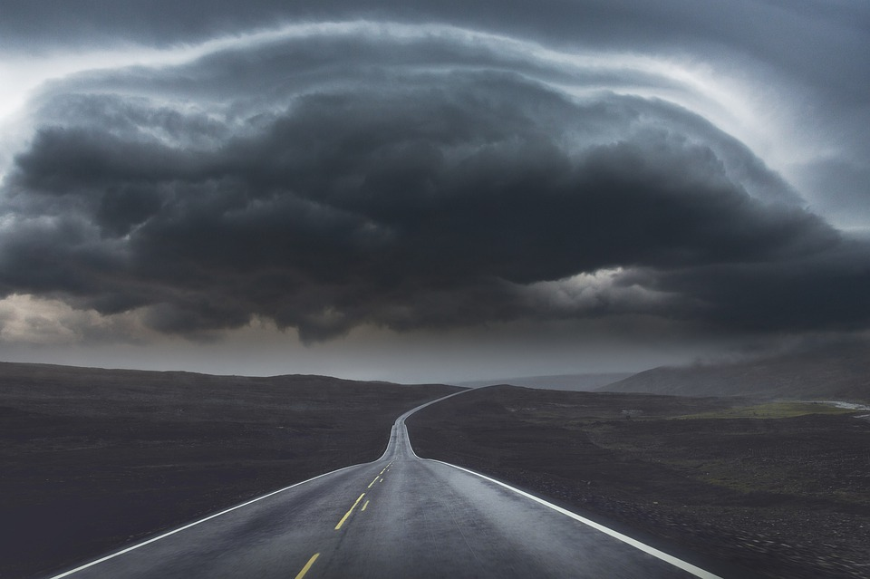 Sky, Clouds, Road, Storm, Atmosphere