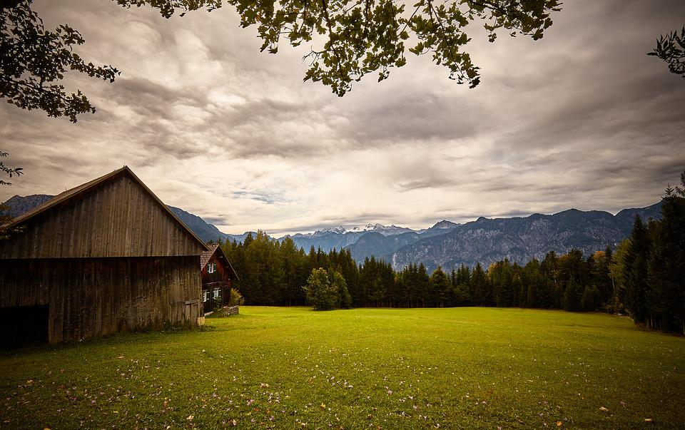 Hut, Clouds, Mountains, Lawn, Autumn, Alm, Meadow, Sky