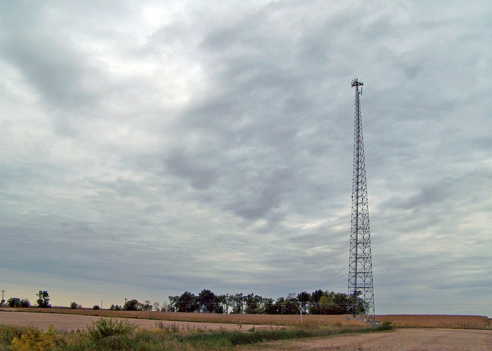 Tower, Transmission, Field, Autumn, Sky, Clouds