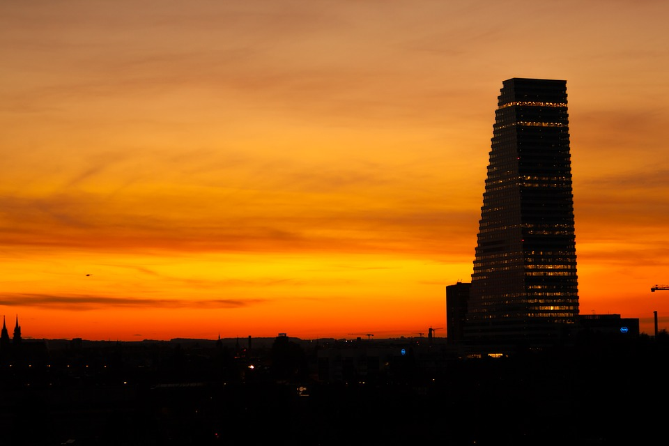 Sunset, City, Basel, Clouds, Sky, Abendstimmung, Sun