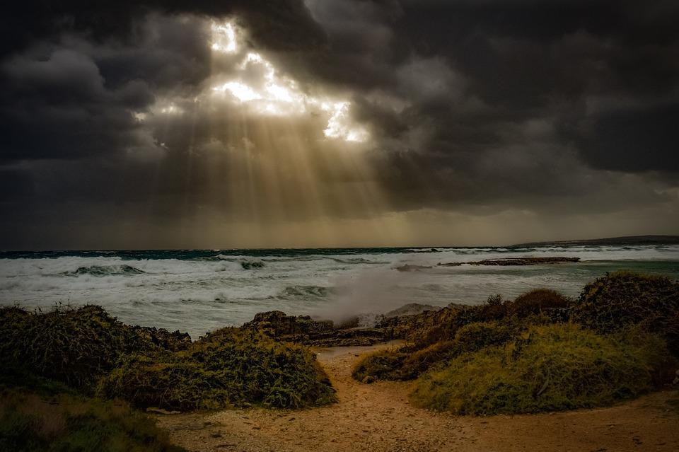 Beach, Coast, Sea, Sky, Clouds, Dramatic, Landscape