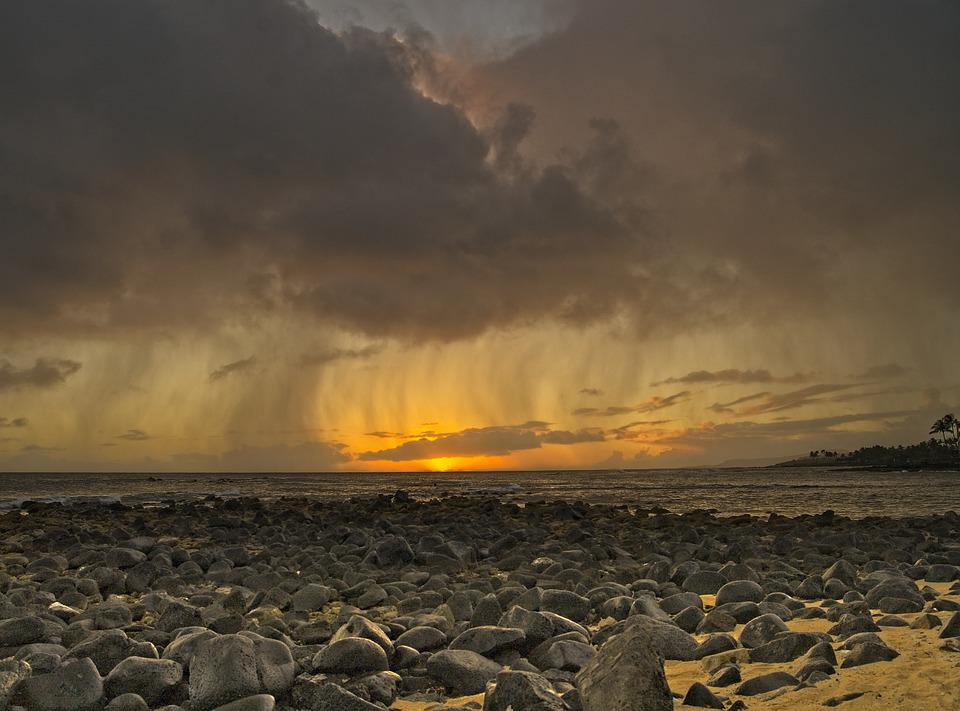 Beach, Storm, Sunset, Ocean, Sea, Clouds, Sky, Weather