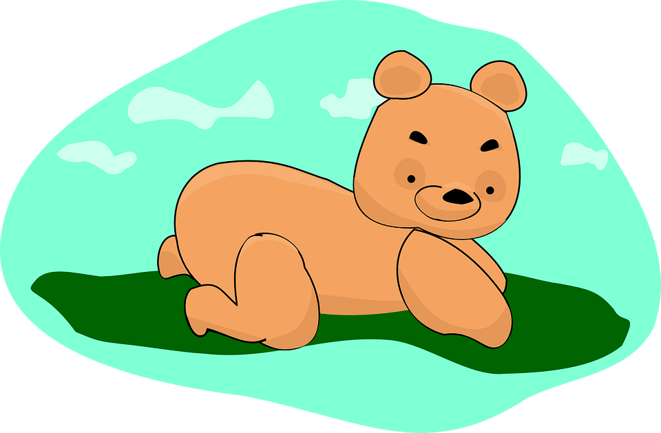 Teddy, Bear, Brown, Green, Clouds, Toy