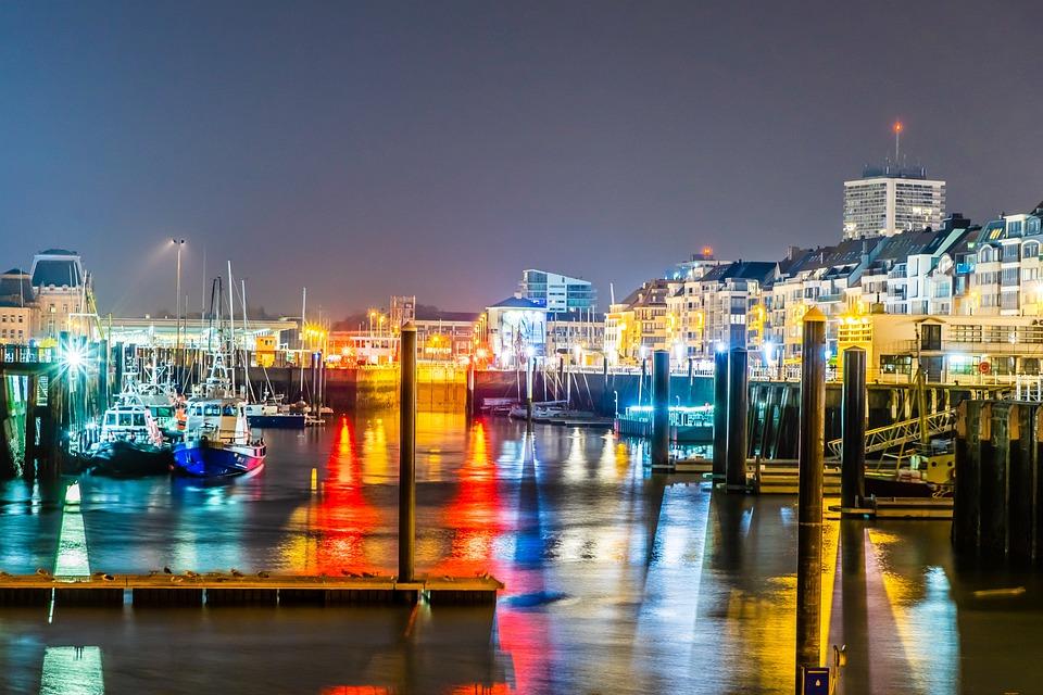 Oostend, Belgium, Oostende, Sea, City, Water, Clouds