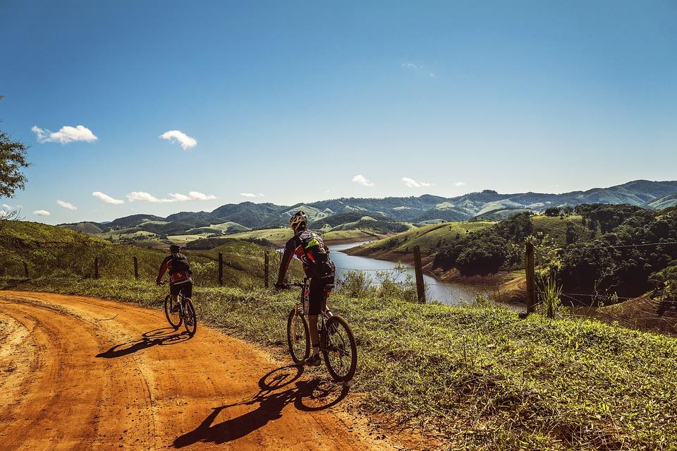 Cyclists, Trail, Bike, Clouds, Nature, Holidays