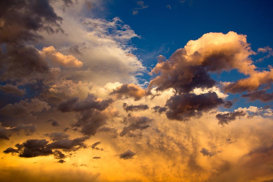 Clouds, Air, Storm, Orange, Blue, Blue Sky, Cloud