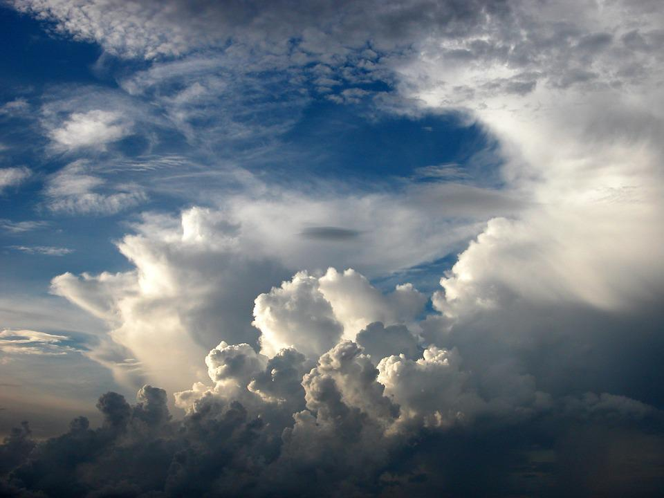 Cumulus, Clouds, Dramatic, White, Blue, Sky, Weather