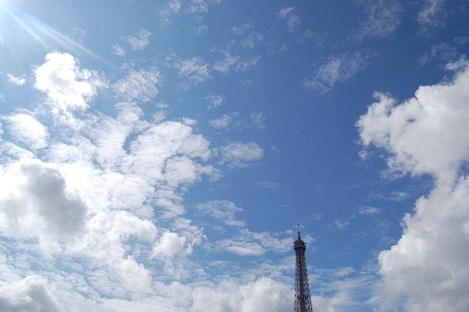 Eiffel Tower, Top, Point, Sky, Clouds, Blue, Paris