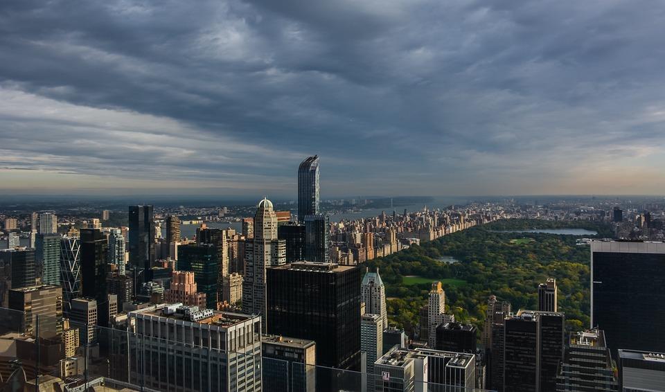 City, Building, Park, Sky, Clouds, Manhattan