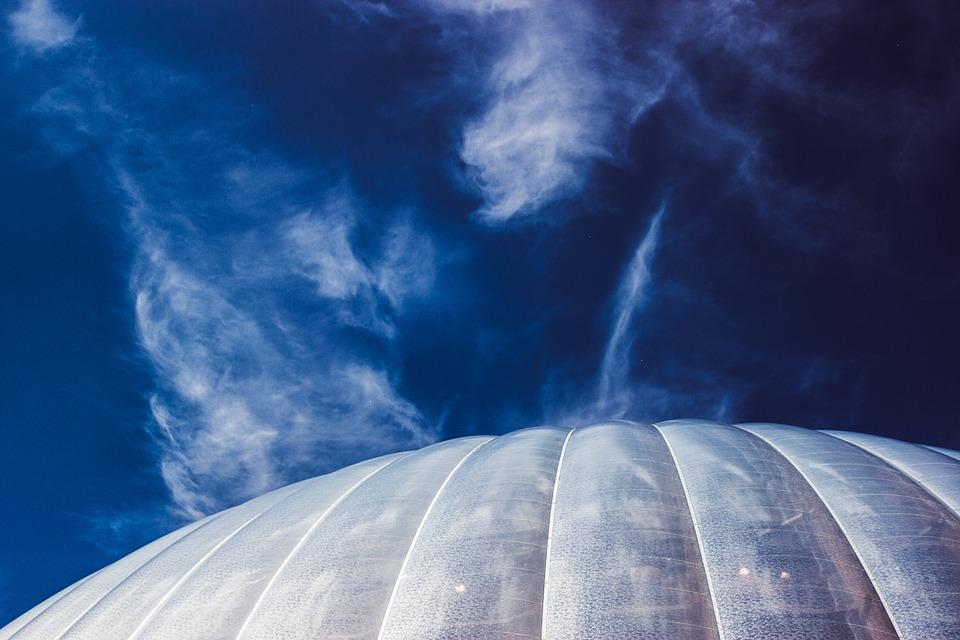 Sky, Dome, Architecture, City, Planet, Clouds, Blue